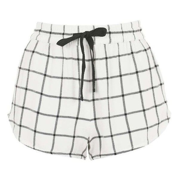 Topshop Windowpane Check Pajama Shorts ($28) ❤ liked on Polyvore featuring intimates, sleepwear and pajamas