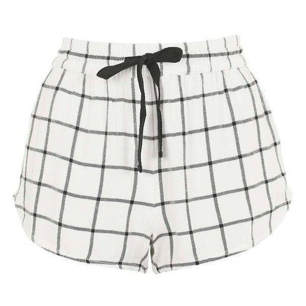 Topshop Windowpane Check Pajama Shorts ($28) ❤ liked on Polyvore featuring intimates, sleepwear and pajamas