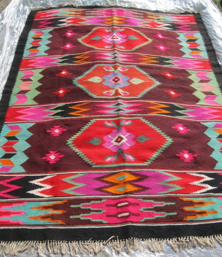 Beautiful Antique Traditional Romanian Hand Woven Wool Carpet Rug With Geometrical Pattern At Www