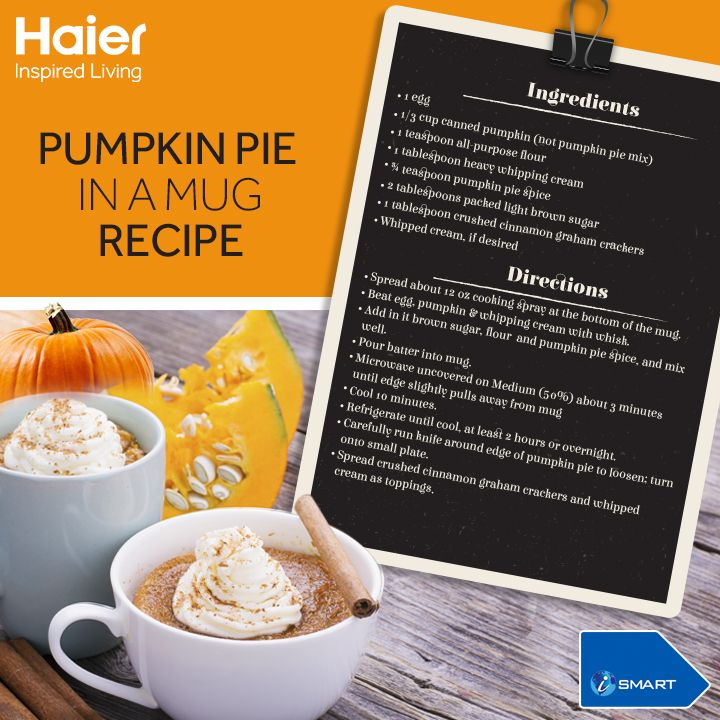 Craving for an after-dinner dessert all the time? Get ready with Pumpkin Pie in a Mug. Try this in #Haier's #Microwave and get the best taste.