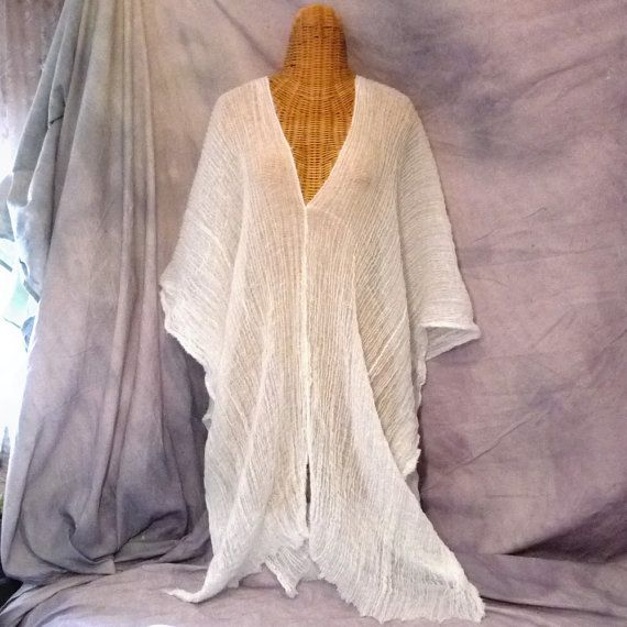 White Caftan Cover Up Midi Gull Wings Goddess Beach Spa One Size Cotton Robe Maternity