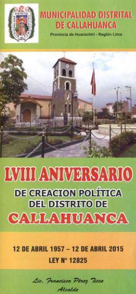 LVIII Aniversario de Callahuanca