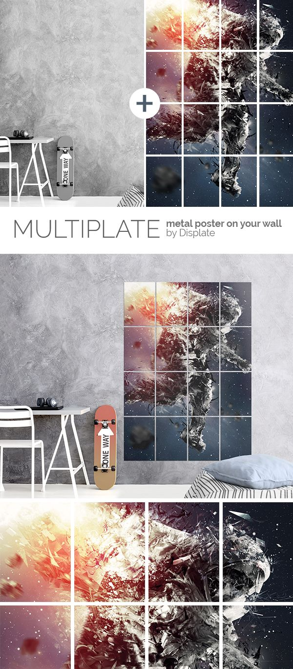 This awesome poster will take you for a trip to the outer space! Large size artwork printed on 16 metal plates to give your interior a totally new look. Click through to see more similar artworks! #multiplate