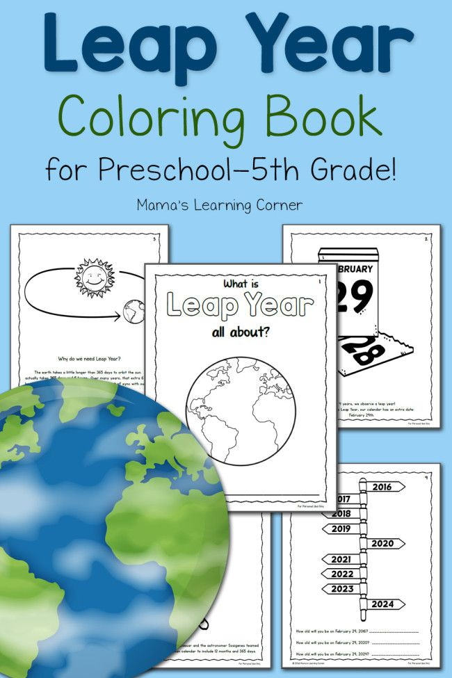 Leap Year Coloring Book for Kids - For Preschool - 5th Grade! http://www.mamaslearningcorner.com/printable-leap-year-coloring-book/