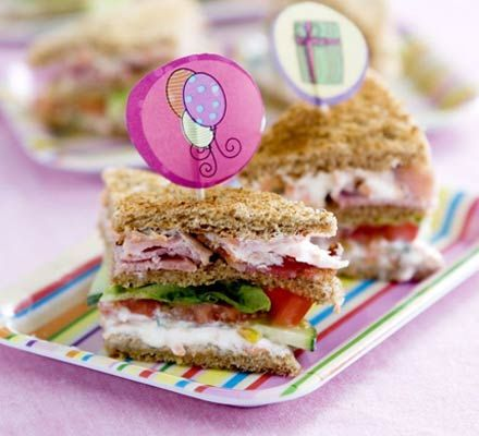 Kids' club sandwiches    Healthy party food doesn't have to be boring - these fun club sandwiches are just the thing for kids (and parents!)