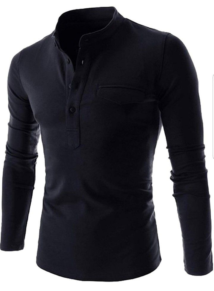 Mens Plain BLACK Cotton Budget Long Sleeve Polo Shirt T-Shirt with Collar