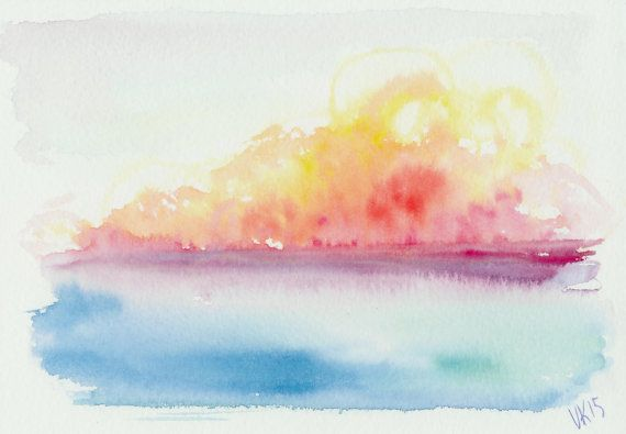 Sunset, original watercolor painting by EarlyMorningWalk