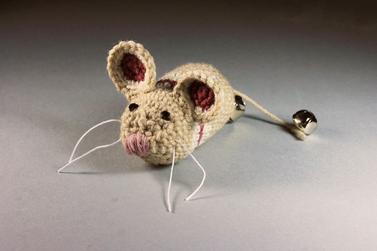Catnip Toy Mouse, Mouse With Bell, Beige with Stripes, Crocheted, Pet Toy, Natural Cat Nip, Pet Accent