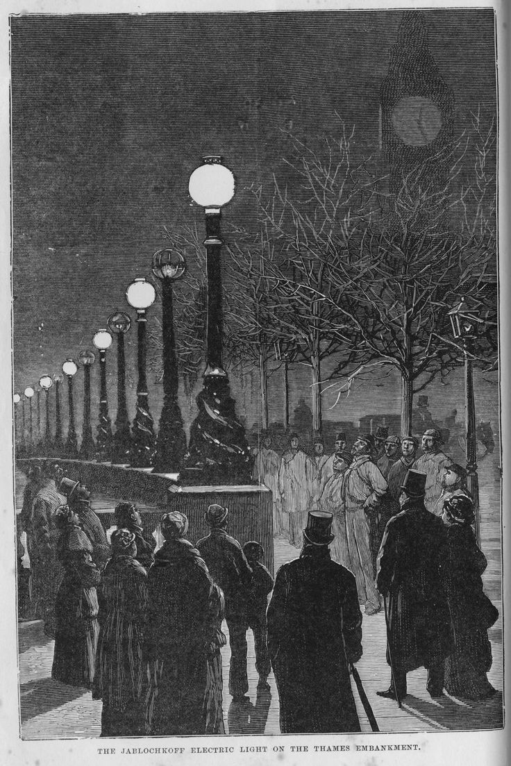 The Jablochkoff Electric Light on the Thames Embankment (c1881). IET Archives ref: SPT/P/I/14/11