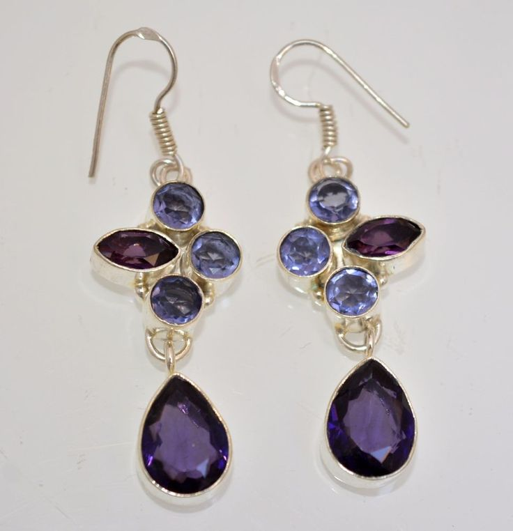 New Amethyst Quartz-Hydro Quartz 925 Silver Plated Earring Gifts For Friend A111 #valueforbucks #DropDangle