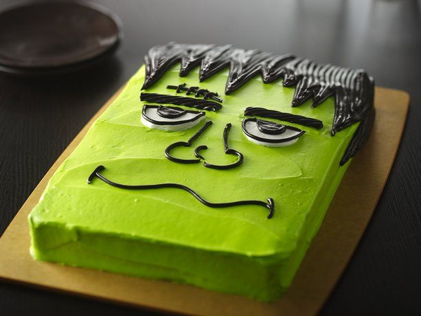 frankenstein cake for halloween!!!! I just made this (after halloween) and I used icing for every part (because I don't like black licorice). I also used a fork after i piped out the hair to give that textured look! I had a little bit of black frosting left so I put bolts on the side of the head too!