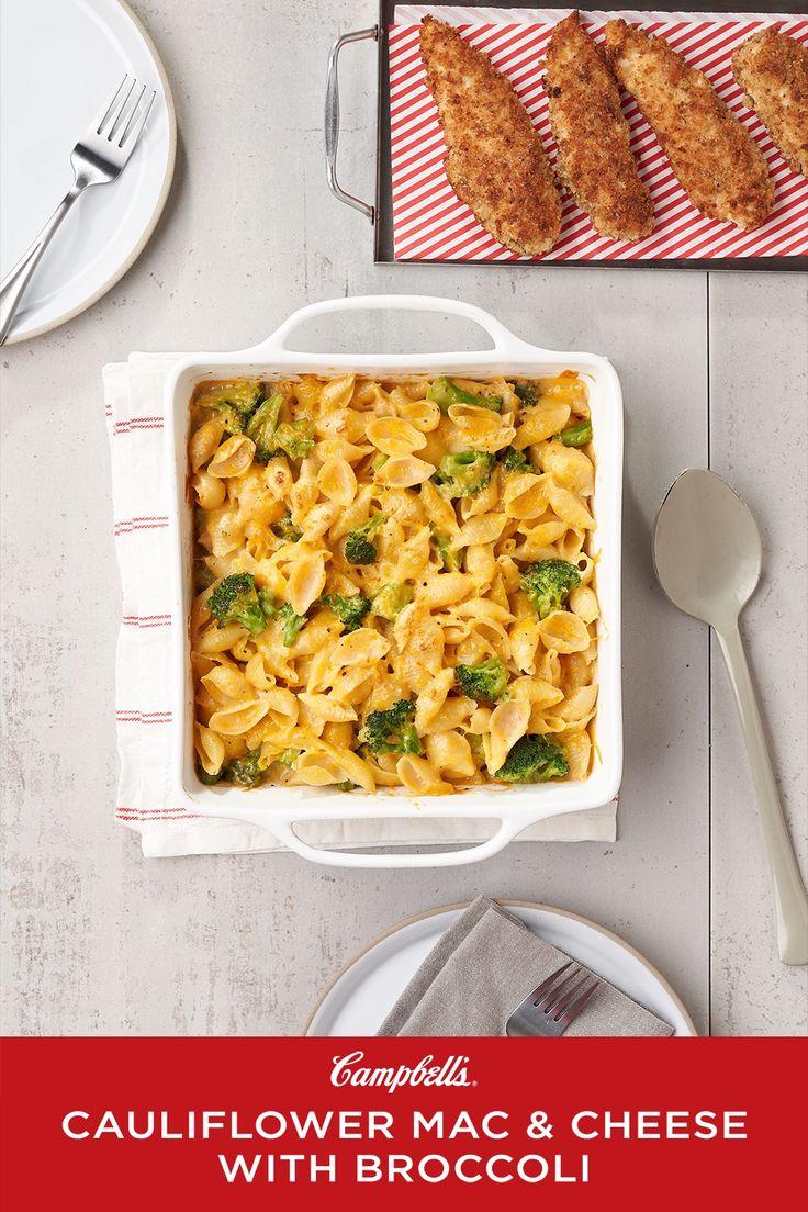 Cauliflower mac cheese with broccoli campbells