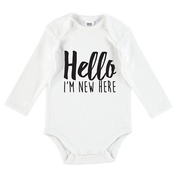 Hello I'm New Here Funny Onesie by TheUniqueCo on Etsy
