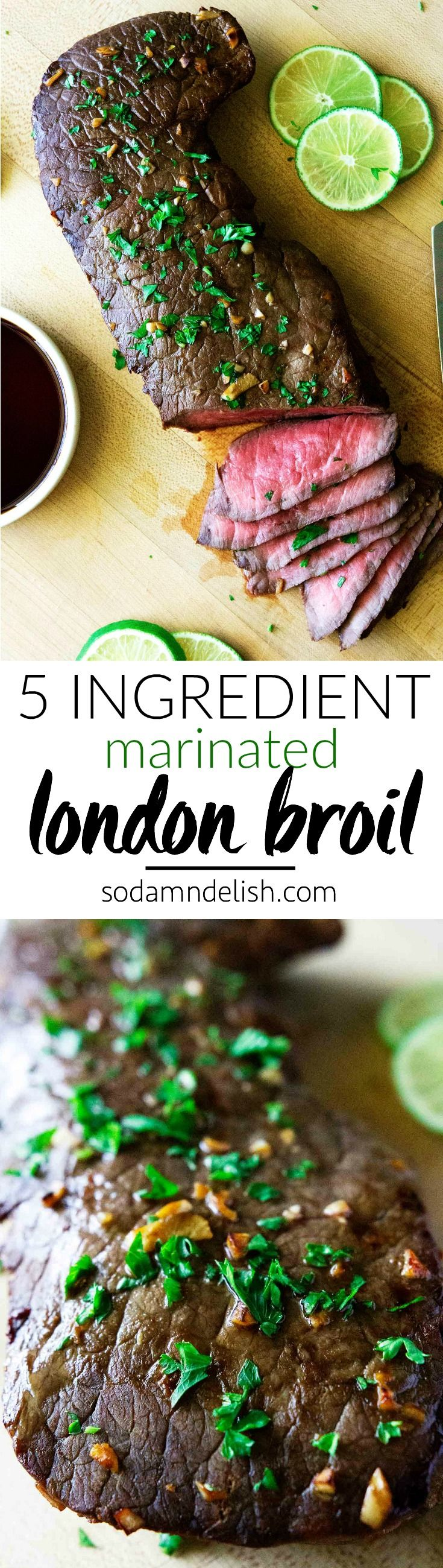 This marinated london broil recipe is so super easy! It has only 5 ingredients and takes under 10 minutes to cook! It's a surefire hit for all steak lovers out there. | #londonbroil #steak #londonbroilmarinade #steakmarinade