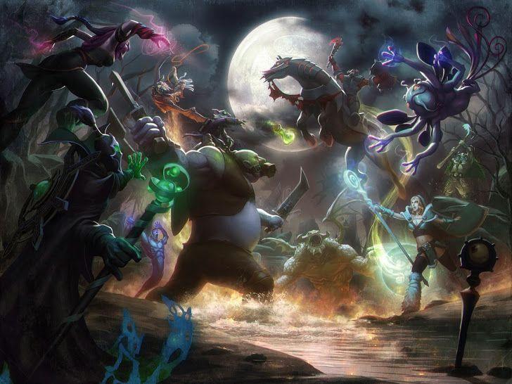dota heroes clash hd wallpaper pudge lanaya crystal maiden puck bat rider natures prophet enigma 1280x960 a35.