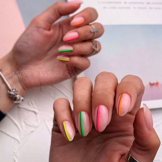 30 Lovely Nail Designs For Summer 2020 Neon Nail Designs Almond