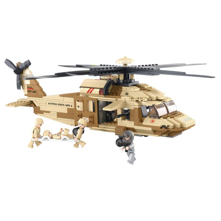 Bygg ihop en amerikansk arméhelikopter. Inkluderar fyra figurer och en militärhelikopter.  Sluban är varumärket för leksaksbyggklossar som är fullständigt kompatibla med många andra byggstensmärken. Sluban-byggklossar är ett måste, med låga priser och unika byggsatser. Sluban erbjuder massor av skoj för alla åldrar!  Fakta Material: Plast. Antal bitar: 439 st. Passar barn över 6 år. Sluban Army Serie. Tillverkare: Sluban.