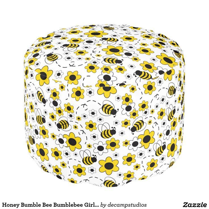 Honey Bumble Bee Bumblebee Girl Yellow Floral Pouf Nursery Room DecorGirl