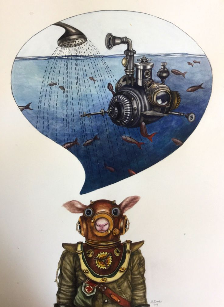 Angela Banks 2015, 'Bubblehead Bob'. Watercolour on paper. 54cm x 43 cm