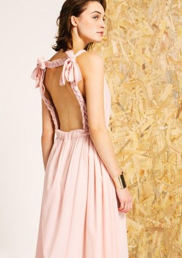 Robe longue en coton fluide vieux rose Tara Jarmon