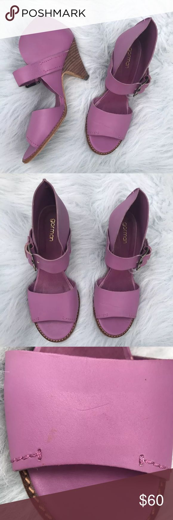 Gorman purple heels sandals ADORABLE GORMAN RAQUEL HEEL, SIZE 39. SMALL HEEL 2.5 INCHES. GOOD USED CONDITION. MINIMAL WEAR ON BOTTOM AND BOTTOM HEEL AND INSIDE LINING IS LIFTING VERY SLIGHTLY ON LEFT SHOE. SEE PHOTOS.  PURPLE COLOR, REMINDS ME OF BLACK RASPBERRY COLOR. gorman Shoes Heels
