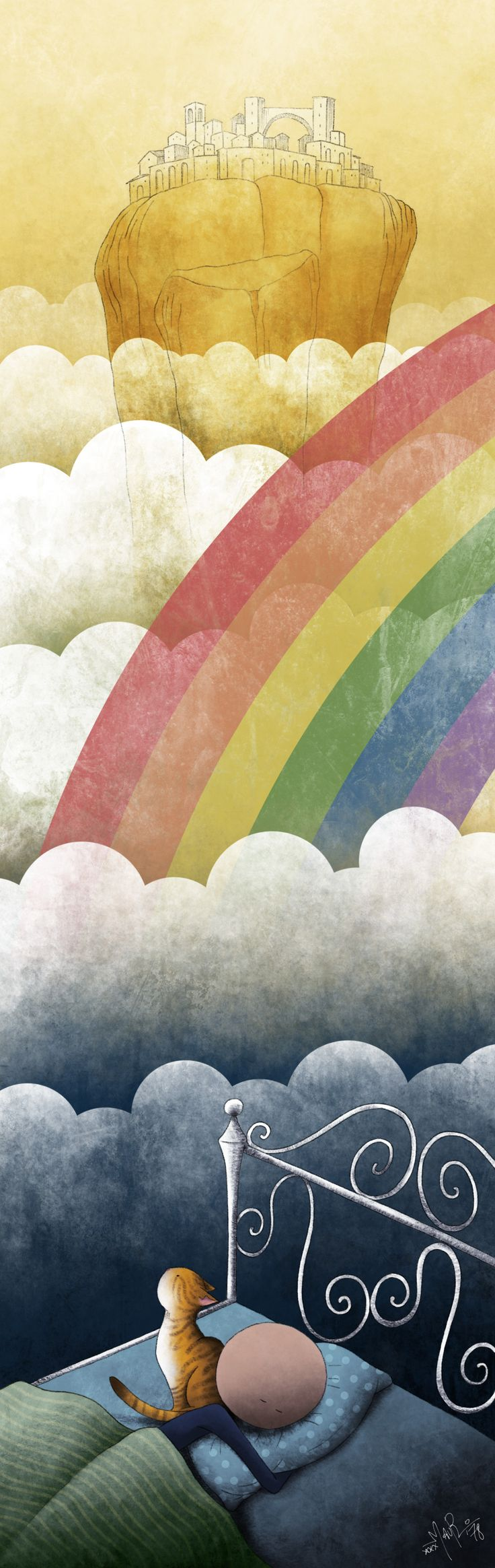 "Mauro Falcioni ~ The Paper-Cat Illustrations || Il paese sopra l'arcobaleno ~ ""Cantami una ninna nanna e tingerò la notte."""