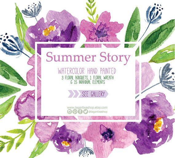 Watercolor clipart, Frames Floral PNG, wedding bouquet, arrangement, bouquet, digital paper, blue flowers, bridal shower, for blog banner