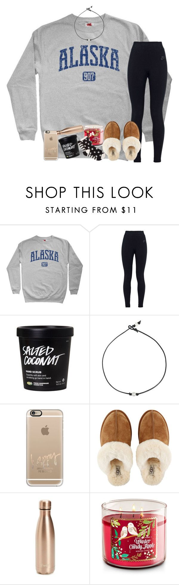 """""""Snow days are the best days❄️"""" by kyliegrace ❤ liked on Polyvore featuring beauty, NIKE, Casetify, UGG, S'well and Free Press"""