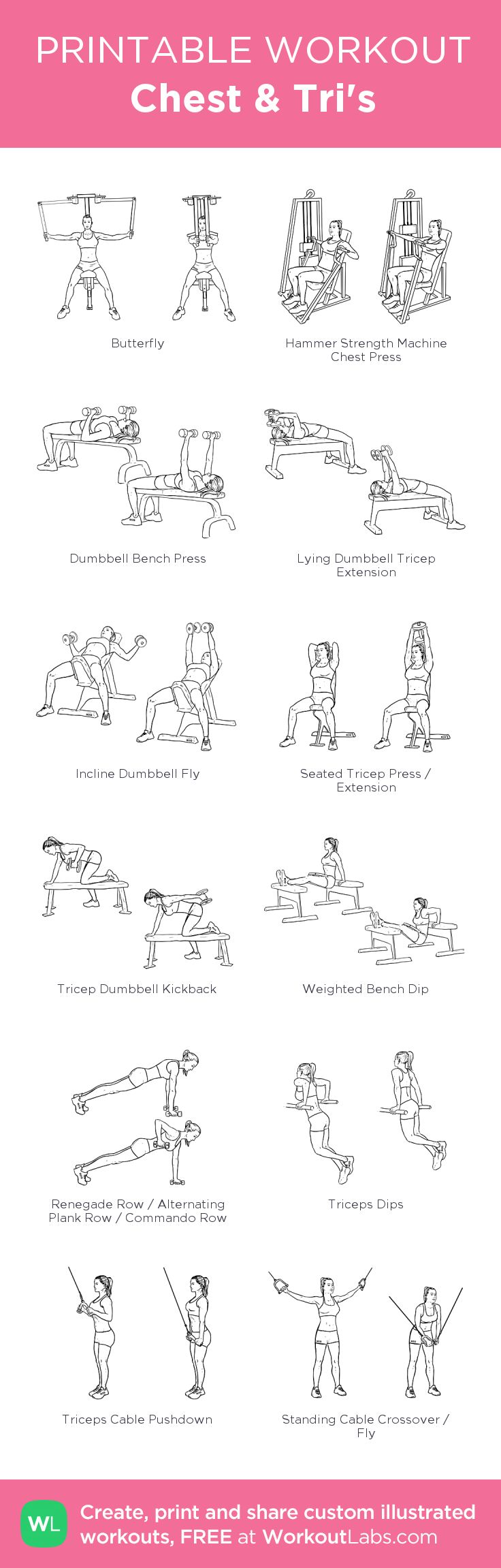 Chest & Tri's: my custom printable workout by @WorkoutLabs #workoutlabs #customworkout