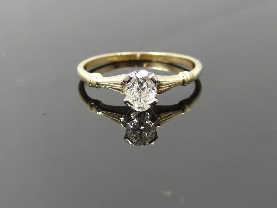 Simple Yellow Gold Vintage Oval Diamond Solitaire Engagement Ring RGDI351P