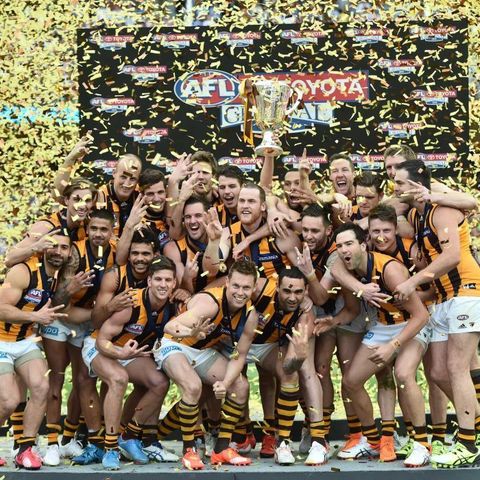 Hawthorn celebrates the three-peat - Hawthorn Hawks celebrate winning the AFL Grand Final against the West Coast Eagles at the MCG, Saturday, Oct. 3, 2015.