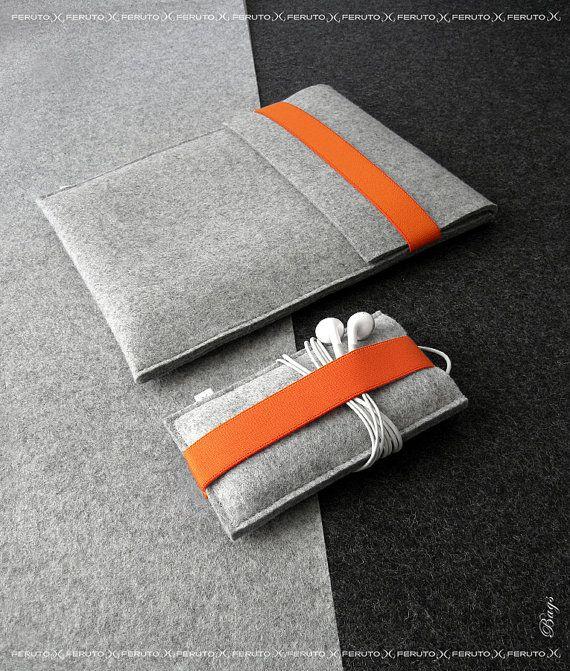 iPad Air sleeve and iPhone sleeve FELT DUETT wool by FERUTOBags