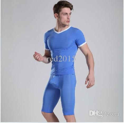 2018 Wholesale Mens Sleepwear Pajamas Tight Blue Sexy Fastoin See Through Manview Underwear Yoga Pants Sheer Gay Home Sleeping Wear From Red2015, $25.87 | Dhgate.Com