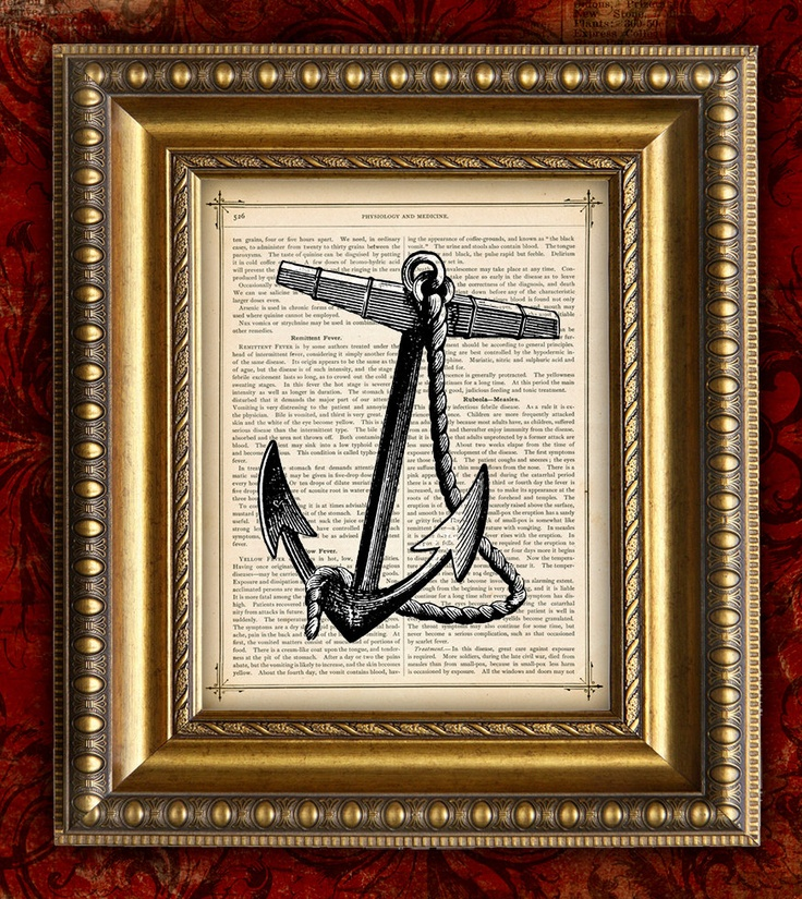 Naval Anchor printed on maps or old dictionary pages.