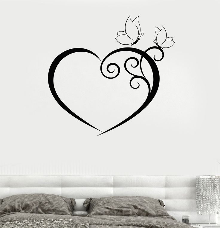 Wall Decal Heart Butterfly Bedroom Romantic Vinyl Sticker  from $21.99