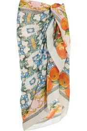 Dolce & GabbanaPrinted cotton-voile sarong