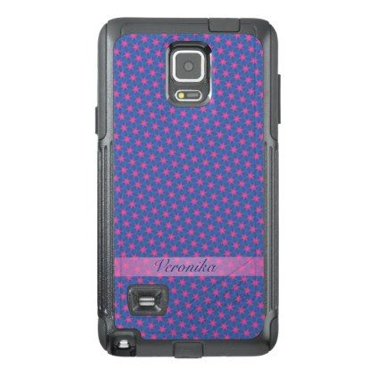 Pink stars on a blue background OtterBox samsung note 4 case - girly gifts special unique gift idea custom