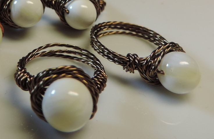 Wire ring, with bead ivory imitation by alcpcreations on Etsy