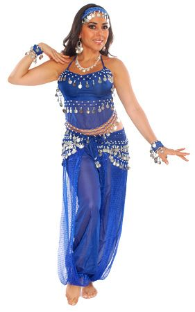 Royal Blue Belly Dancer Harem Genie Costume with Silver Coins
