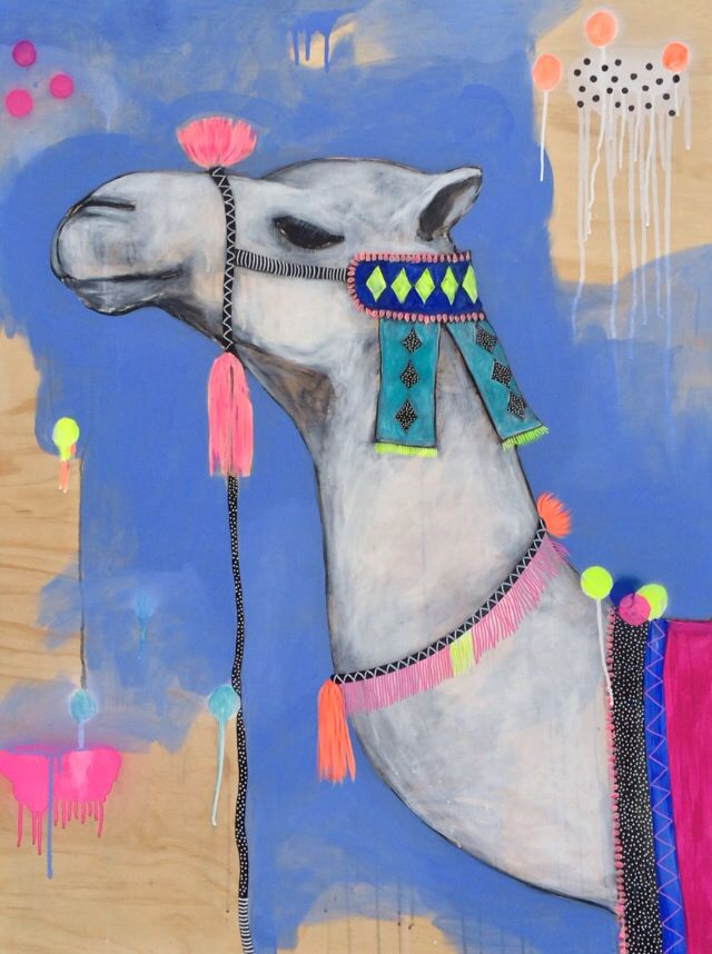 Cool, Calm, Camel.  Acrylic and aerosol on sustainable wood panel.