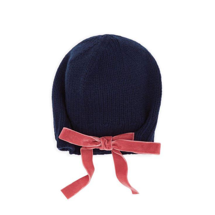 Bee Bee Ribbon Tie Beanie Hat in Dark Navy