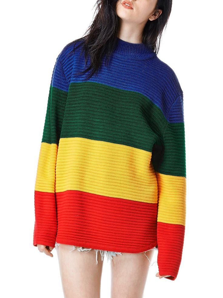 Shop Color-block Long Sleeve Sweater online. SheIn offers Color-block Long Sleeve Sweater & more to fit your fashionable needs.