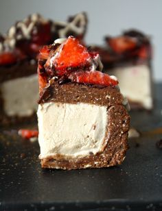 Vanilla Cheesecake Filled Brownies - Raw Vegan