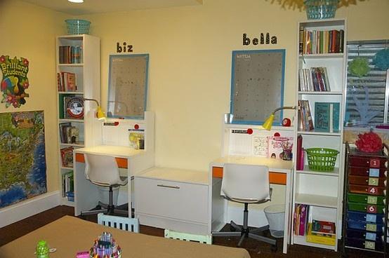 Great Idea for kids homework space in bonus room