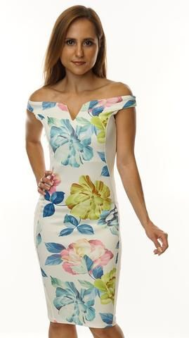 **Floral Off Shoulder Bodycon Dress**