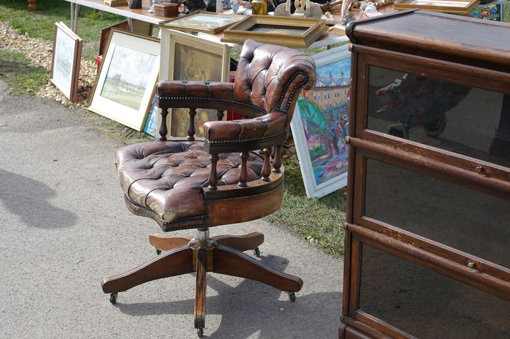 Antique leather chair at Ardingly International Antiques & Collectors Fair