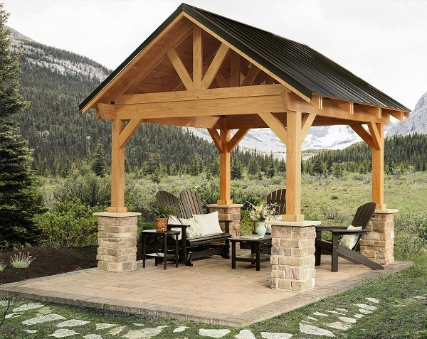 Breckenridge pavilion with metal roof berlin gardens for Simple gazebo plans