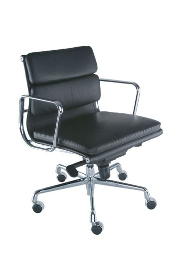 A Classically Styled Meeting Chair with Synchro motion Swing, Chrome Frame and finished in Soft pad Ecco Leather available in Black White and Red Leather #seated #aluminum #boadroom #chair seated.com.au