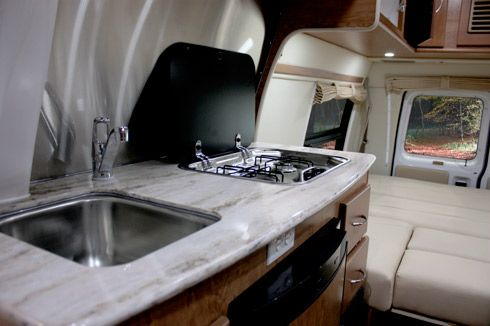 PleasureWay Industries The Ford Excel Class B Motorhome Corian countertops propane cooktop
