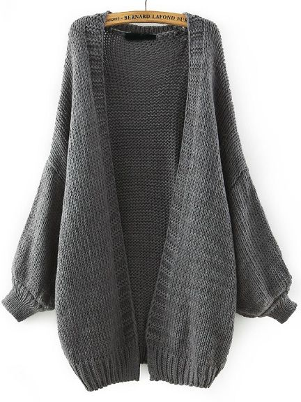 Grey Batwing Long Sleeve Knit Loose Cardigan